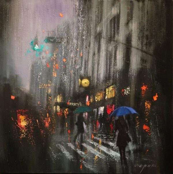 """A Rainy Day and Macy's Yellow Clock"" - Open Edition Print by Chin h Shin"