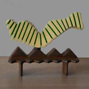 """Balancing mummy (yellow-green)"" - Original Artwork by Frans Muhren"
