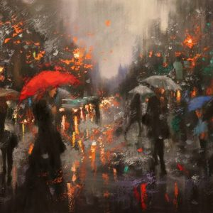 """Broadway Rain Before Christmas"" - Open Edition Print by Chin h Shin"