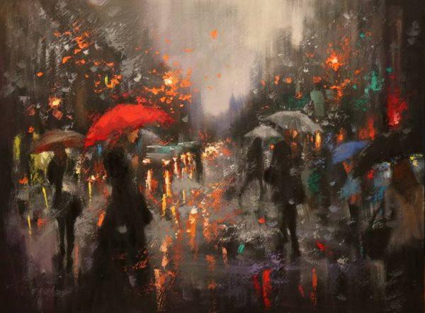 """Broadway Rain Before Christmas"" - Open Edition Print by Chin h Shin"
