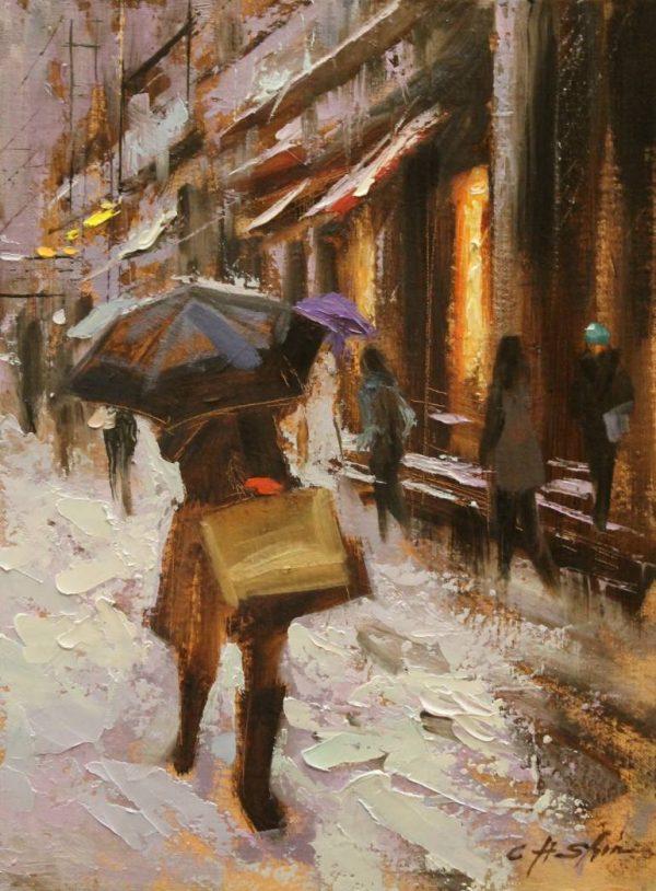 """Broadway Umbrella-SOLD"" - Open Edition Print by Chin h Shin"