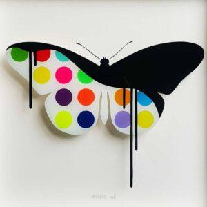"""CANDY - Original butterfly painting on glass"" - Original Artwork by VeeBee VeeBee"