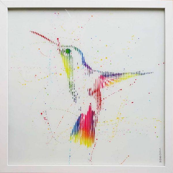 """""""Ghost of a hummingbird-original painting on glass"""" - Original Artwork by VeeBee VeeBee"""