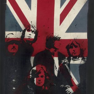 """Limited edition Signed Print: Pink Floyd on Vintage Union Jack XL"" - Original Artwork by VeeBee VeeBee"