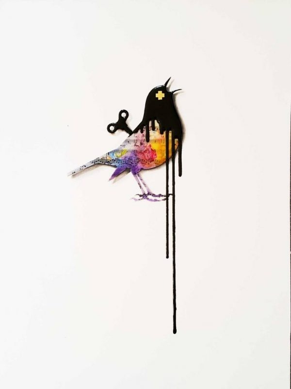 """ORIGINAL 3D painting- Clockwork Bird: Sing"" - Original Artwork by VeeBee VeeBee"