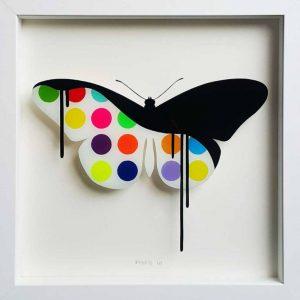 """Original butterfly Painting on Glass: Candy"" - Original Artwork by VeeBee VeeBee"