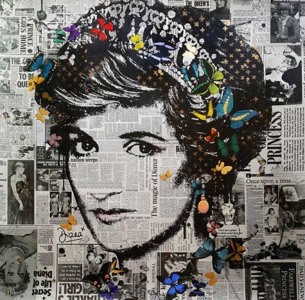 """Princess Diana (Illuminated) Limited Edition of 10 only"" - Original Artwork by VeeBee VeeBee"