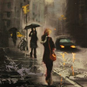 """Rain Day Walkers 3"" - Open Edition Print by Chin h Shin"