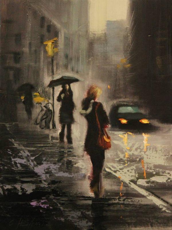 """Rain Day Walkers 3"" - Open Edition Print by Chin h Shin"