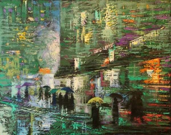 """Rain Day Walkers 4"" - Open Edition Print by Chin h Shin"