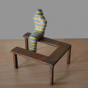 """Sitting mummy (grey-yellow)"" - Original Artwork by Frans Muhren"
