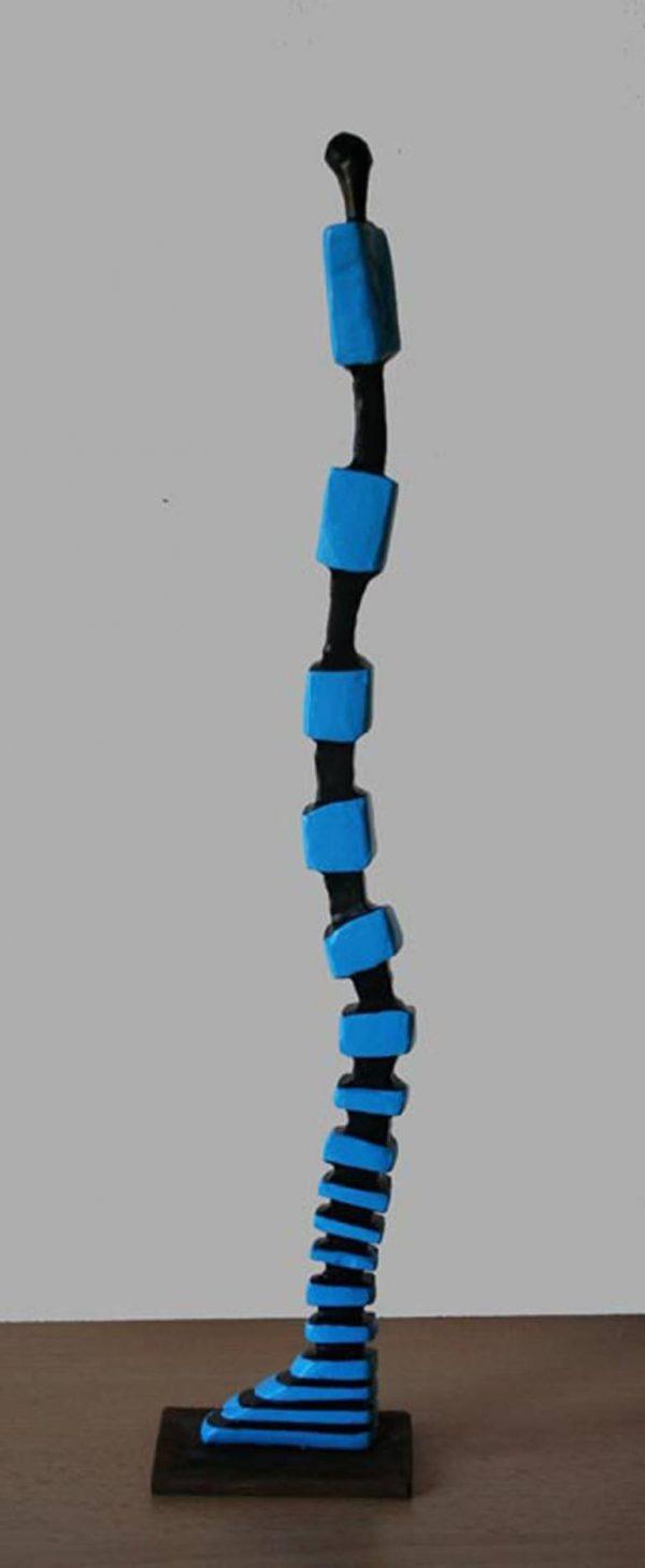 """Standing mummy (blue-black-square)"" - Original Artwork by Frans Muhren"