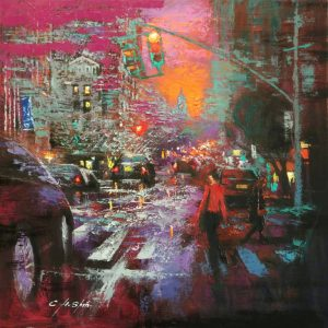 """Sunset City Walkers"" - Open Edition Print by Chin h Shin"