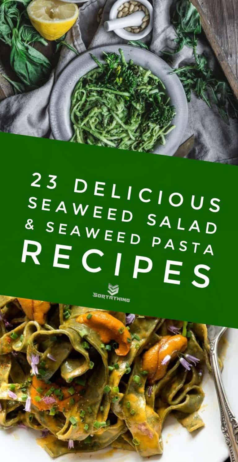 Zucchini Spaghetti with Seaweed Pesto & Seaweed Pasta Nori Tagliatelle with Sea Urchin