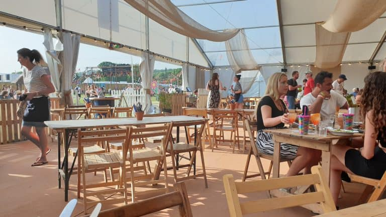 Inside the Beach Tree Restaurant at Glastonbury Festival 2019