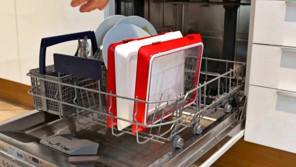 Square away food storage containers in dishwasher