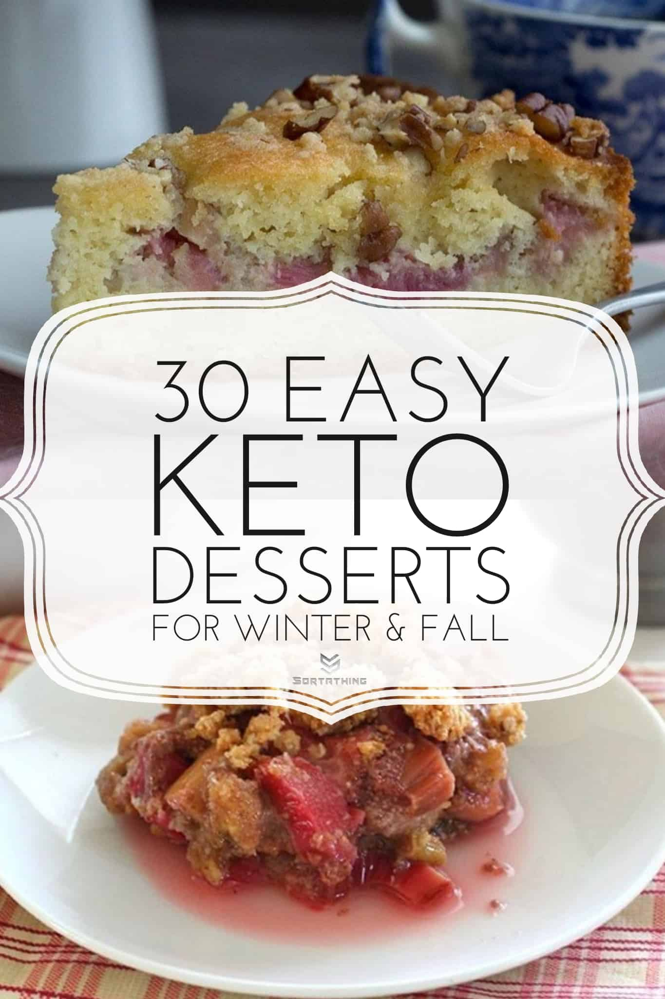 Keto Rhubarb Coffee Cake and Low Carb & Gluten-Free Rhubarb Crumble