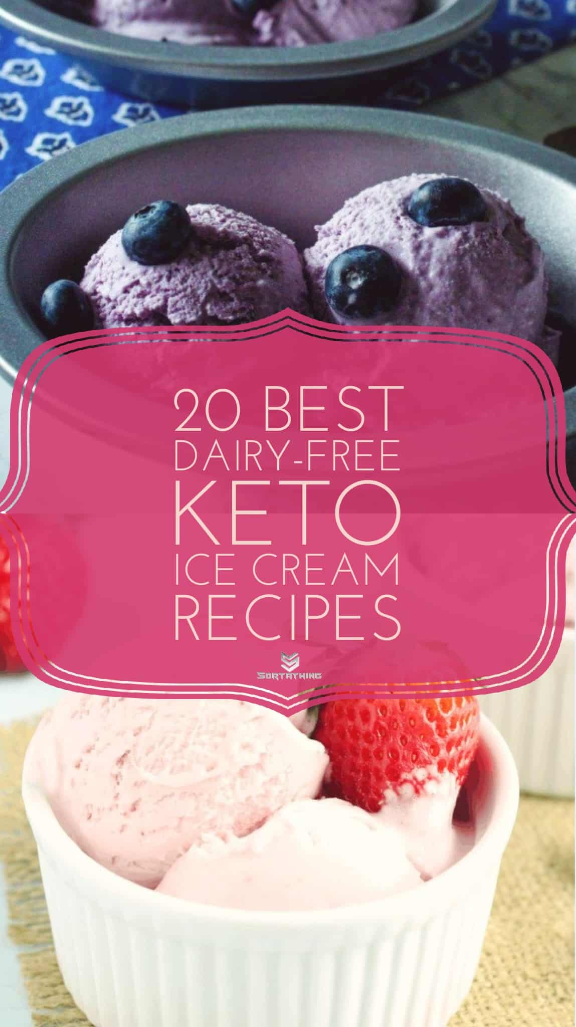 Keto Cream Blueberry Ice Cream and Dairy Free Coconut Strawberry Ice Cream
