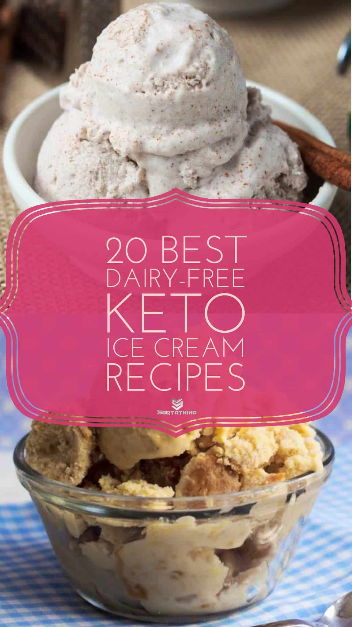 Keto Dairy-Free Cinnamon Ice Cream and Peanut Butter Swirl Ice Cream