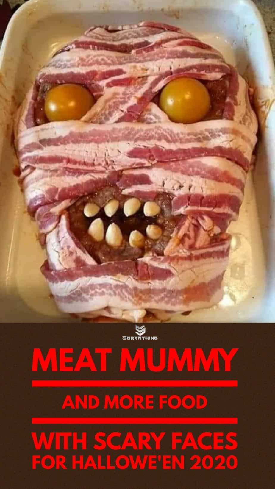 bacon-wrapped meat mummy horror food for halloween