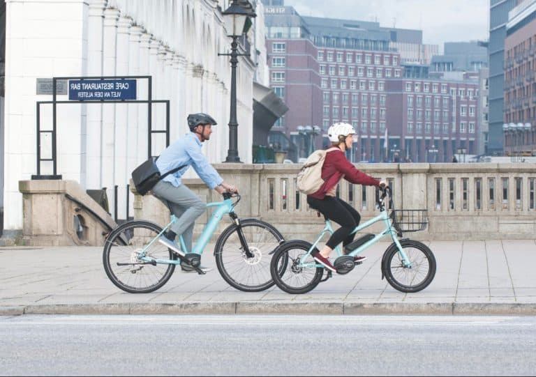 test ride an electric bike with a friend